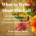 What to Write About This Fall